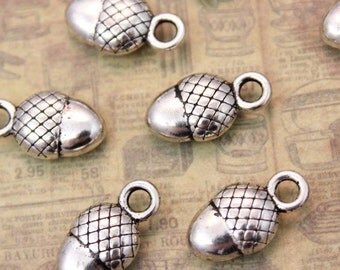 10 Acorn Charms Acorn Antiqued Silver Tone  Double Sided 3D 10 x 12 mm