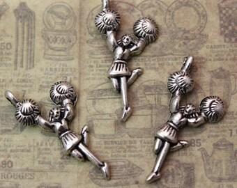 10 Cheerleader Charms Cheerleader Pendants Antiqued Silver Tone 14 x 25 mm