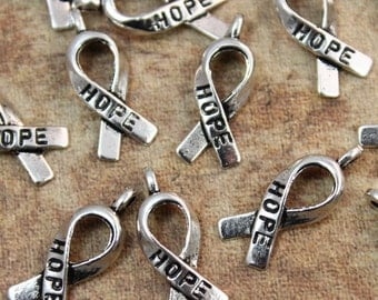 10 Hope Breast Cancer Ribbon Awareness Charms Hope Ribbon Pendants Antiqued Silver 7 x 15 mm