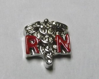 RN Floating Charm nurses RN charm locket charm floating locket charm nurse charm living locket charm