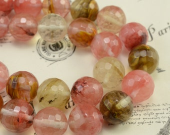 Fire cherry quartz faceted round(128 faces) beads 12 mm,15 inches full strand