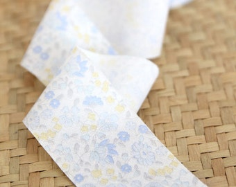 1.6 inch Lily Flower Cotton Bias Tape in Blue 10 Yards 56333