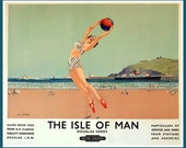 Isle of Man, Travel Poster Print-  1950s