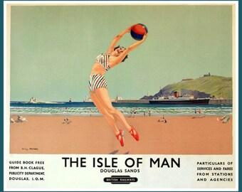 Art Print Isle of Man, Travel Poster Print-  1950s Print 8 x 10