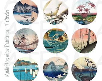 99 Cent Sale - Japanese Art - 4 x 6 Digital Collage Sheet  - 1 inch Round Circles - INSTANT Download