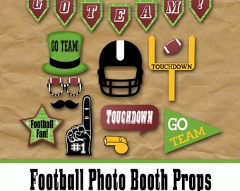 Football Photo Booth Props and Party Decorations - Printable - Birthday Party Decorations - Pdf and Jpeg files - INSTaNT DOWNLoAD