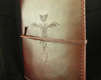 A4 DRAGON Portfolio Binder Folder - Rugged Hand-Tooled Vintage Leather - Freepost UK
