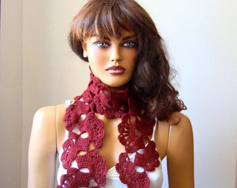 Hand Crochet Teracotta Lace Women Scarf, Fall Winter Fashion,Long Crochet Lace Scarf, Winter Lace Scarf