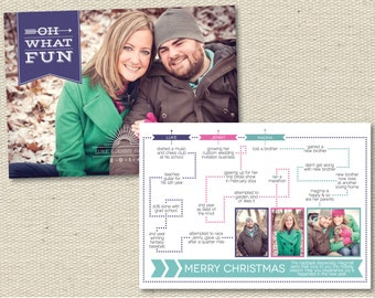 """Custom Photo Holiday Card Christmas Card Year in Review -  """"Oh What Fun"""""""