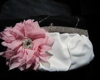 Wedding Clutch -  Pink Wedding Clutch -  Fabric Flower Purse - Bridal Accessory
