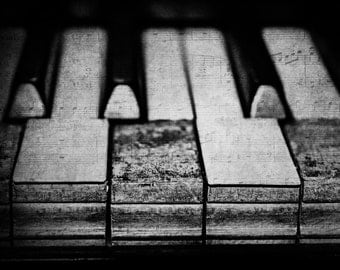 These Worn Tunes in Black and White Fine Art Photography Piano Keys Music Notes Instruments Old Broken Musical Photo Print 8x10 11x14 16x20