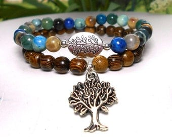 Earth Bracelet, Nature Bracelet, Tree Bracelet, Earthy Bracelet, Beaded Bracelets, Multi Gemstone Bracelet, Natural Bracelet, Wood Bracelet