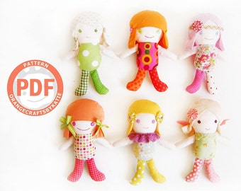 A girl doll for play / for little ones / PDF Patterns and Sewing Tutorial / Three different hairstyles