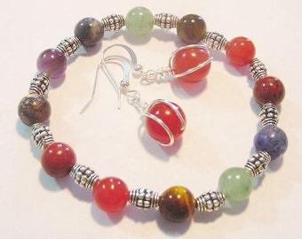 Chakra Bracelet , 7 Semi Precious Stone Bracelet, TIbetan Silver Accents, Free Matching Earrings, Reiki Gift Idea, Free Shipping