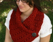 Chunky Ruby Red Cowl, Button Scarf, Crochet Cowl, Soft Scarf, Red Scarf, Neck Warmer