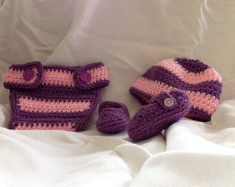 Crocheted Baby Hat, Diaper Cover & Shoes Prop