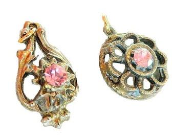 CLEARANCE SALE Vintage Pink Gem Pendants, Vintage Jewelry Destash, Jewelry Making Supplies