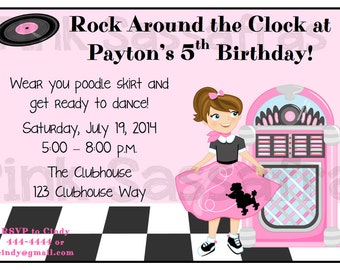 50's Sock Hop Birthday Invitation
