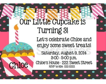 Little Cupcake Girl's Birthday Invitation