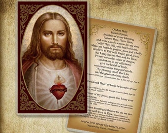 Sacred Heart of Jesus (B) Holy Card or Wood Magnet #0044