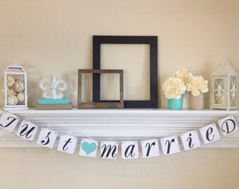 Just Married Banner -Just Married Sign - Wedding Decoration - Just Married Car Sign - Wedding Photo Prop