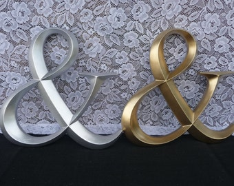 GOLD or SILVER Hand Painted Large Wood AMPERSAND ~ Wedding Sign ~ AnD Symbol ~ Wall Letter ~ Photo Booth Prop Home Decor  Frame