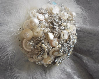 Vintage brooch and button bouquet