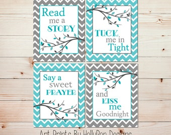 Nursery Decor Read Me A Story Modern Girl Nursery Boy Nursery Art Turquoise Gray Nursery Art Prints Kids Room Wall Art Branches Art #0660