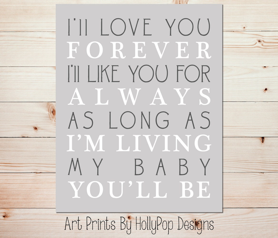 I Ll Love You Forever Quote: I'll Love You Forever Quote Nursery Wall Decor Baby Girl