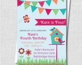 Girl Springtime Birthday Party Invitation - Spring Garden Themed Birthday - Digital Design or Printed Invitations - FREE SHIPPING