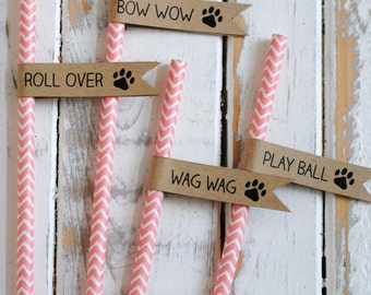 Printable Puppy Themed Straw or Cupcake Flags - DIY - Puppy Themed Birthday or Baby Shower - Paw Print Straw Flags