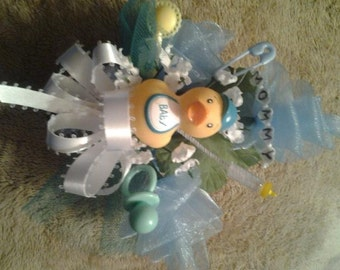 Baby shower MOMMY rubber duck ducky corsage boy girl green, pink or blue