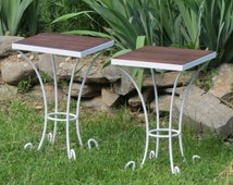 Pair of Salvaged Recycled Wrought Iron Side Table Base With Vintage Black Walnut Top