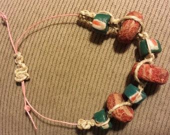 Macrame hemp recycled bead bracelet