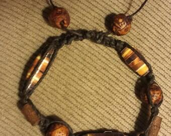 Black hemp paper bead bracelet