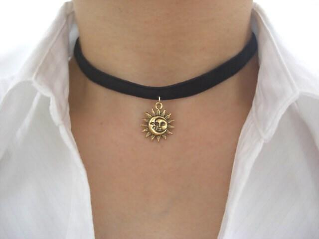 Gold Sun and Moon Pewter Charm Black Velvet Ribbon Choker
