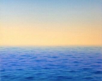 "Ocean Breeze, oil on canvas, semiabstract seascape, 12"" x 12"""