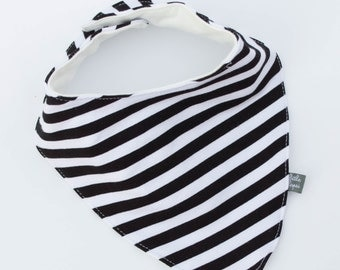 Black with white stripe bib. Scarf. drool bib. Fits infant to toddlers. bandana bib