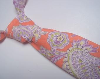 Peach Paisley Necktie-Coral Paisley Tie-Peach Necktie-Peach Paisley-Coral Paisley-Ring Bearer Accessory-Wedding Tie-Wedding-Toddler Tie