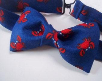 Crab Bow Tie-Nautical Bow Tie-Crabby Bow Tie-Fish Bow Tie-Blue Red Bow Tie-Cute Crab Bow Tie-Beach Wedding
