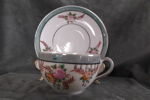 Vintage Japan Chikaramachi Hand Painted Tea Cup And Saucer