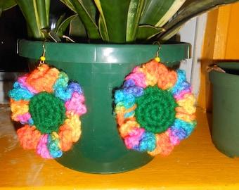 Island Flower crochet earrings