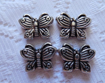 4  Antique Silver Etched Butterfly Acrylic Beads  20mm x 16mm