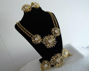 "ESTATE FIND 1992 KJL ""Regal Riches"" Necklace,Earrings and Bracelet"