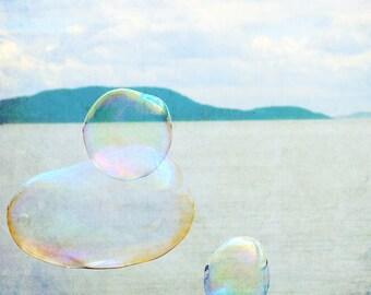 Beach Bubble Photography - 8 X 10 Fine Art Photograph - Nature, nursery wall art, blue, aqua photography, bubbles, rainbow, beach art