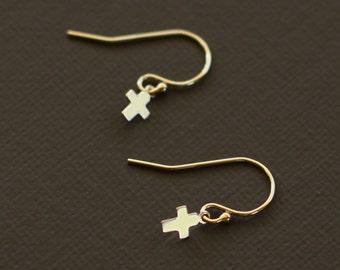 Tiny Gold Cross Earrings - 14K Gold  Fill or Sterling Silver