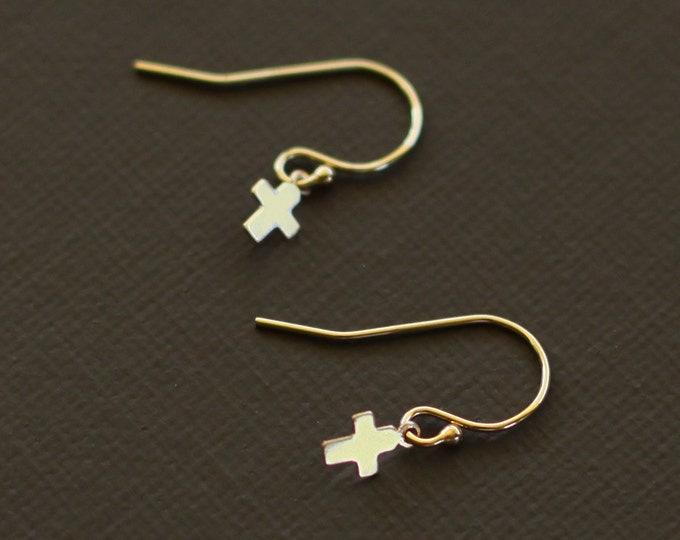 Tiny Gold Cross Earrings - 14K Gold  Fill or Sterling Silver