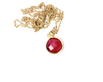 Ruby necklace - july birthstone - ruby jewelry - a gold bezel genuine red ruby on a 14k gold vermeil chain