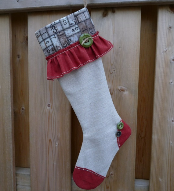 Christmas Stocking - Shabby Stocking - Classic Stocking - Tim Holtz Ecletic Elements Stocking - Vintage Stocking - Eclectic Stocking