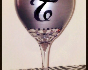 Items similar to 50 shades of grey wine glasses on etsy for Painted wine glasses with initials